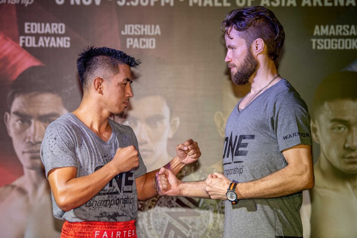 Geje Eustaquio and Toni Tauru face off at the ONE MASTERS OF FATE Open Workout