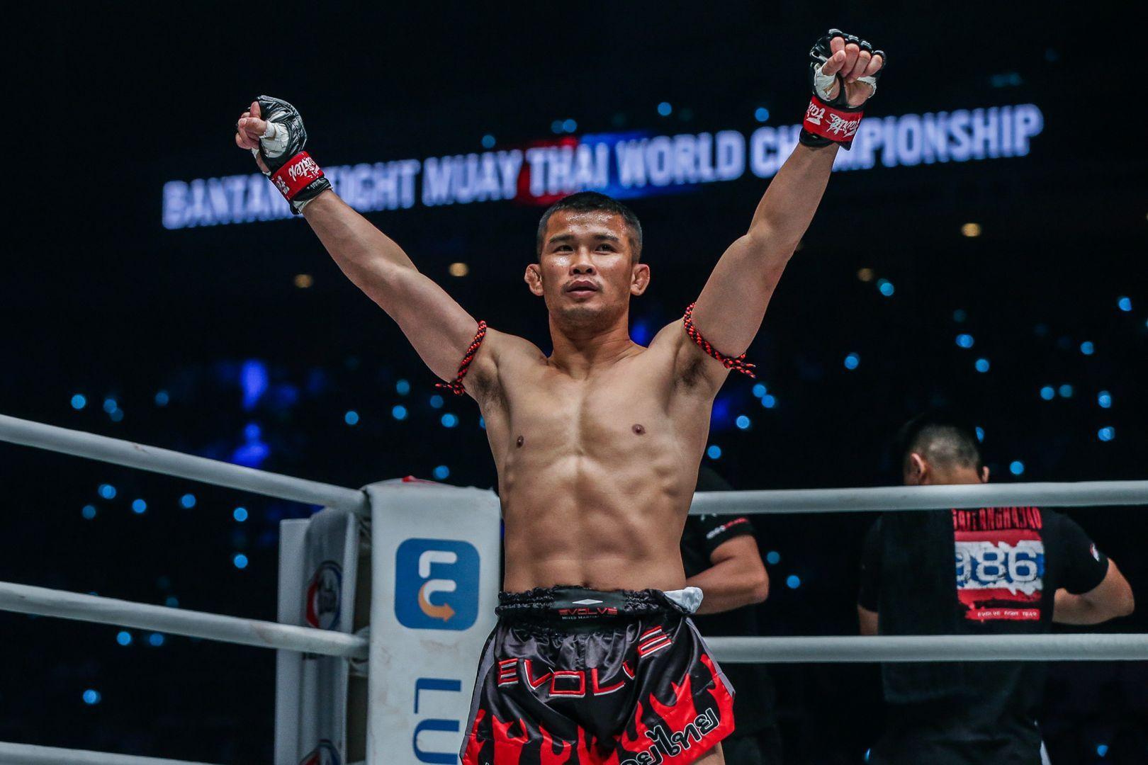 ONE Bantamweight Muay Thai World Champion Nong-O Gaiyanghadao shows his abs before his title defense
