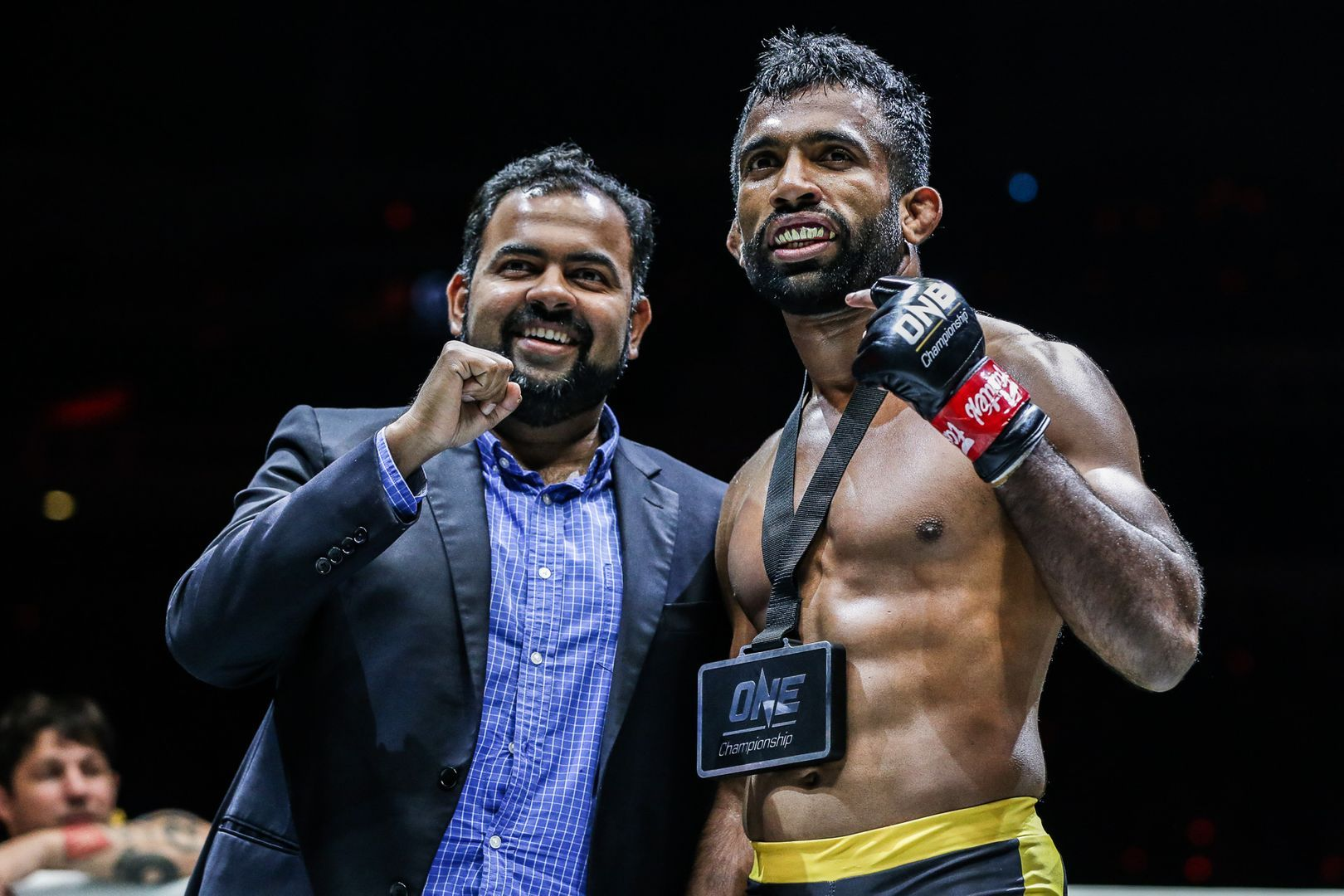 Rahul Raju celebrates his win against Furqan Cheema at ONE EDGE OF GREATNESS