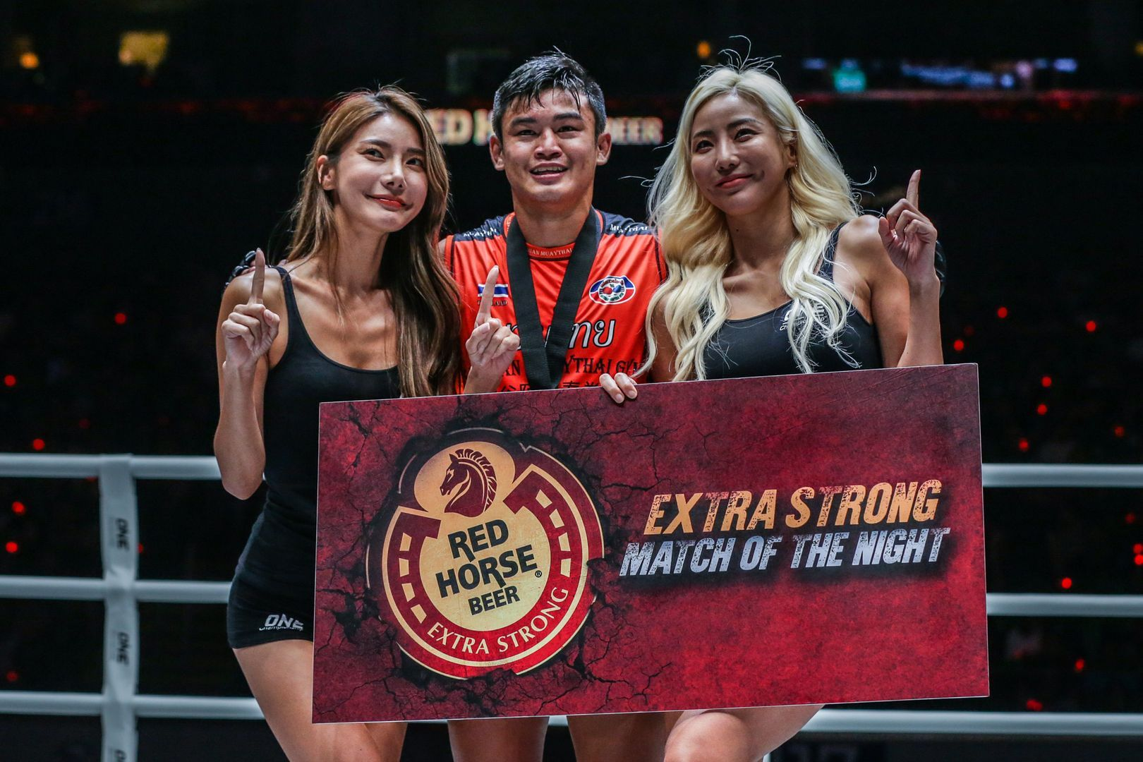 Sangmanee Sathian MuayThai celebrates his victory against Azize Hlali