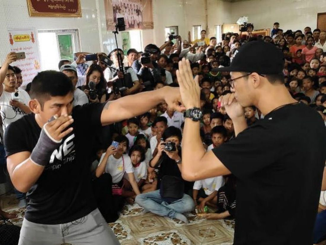 Two-division ONE World Champion Aung La N Sang demonstrates how to punch with Phoe Thaw