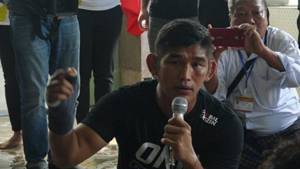 ONE Light Heavyweight and Middleweight World Champion Aung La N Sang takes the mic during his myME experience