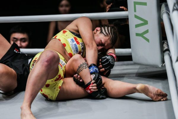 Japanese mixed martial artist Ayaka Miura sets up her signature submission