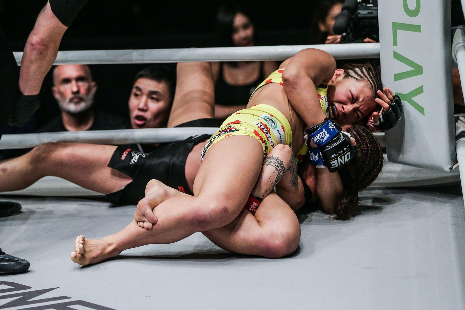 Japanese mixed martial artist Ayaka Miura submits Maira Mazar
