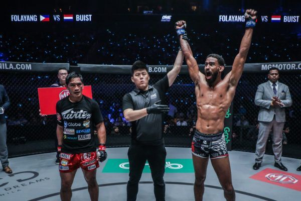 Pieter Buist celebrates his win against Eduard Folayang ONE FIRE & FURY