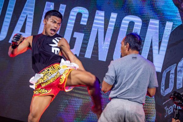 ONE Flyweight Muay Thai World Champion Rodtang Jitmuangnon kicks at the ONE: A NEW TOMORROW press con in January 2020