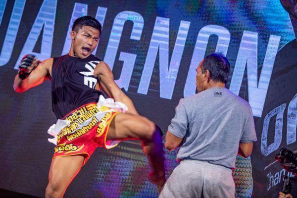ONE Flyweight Muay Thai World Champion Rodtang Jitmuangnon kicks at the ONE: A NEW TOMORROW press con in January 2020