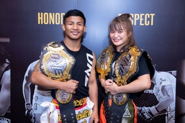 Rodtang Jitmuangnon and Stamp Fairtex ONE A NEW TOMORROW press conference