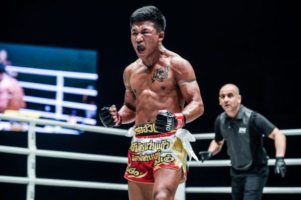 Striking star Rodtang Jitmuangnon celebrates a big victory at ONE: A NEW TOMORROW.