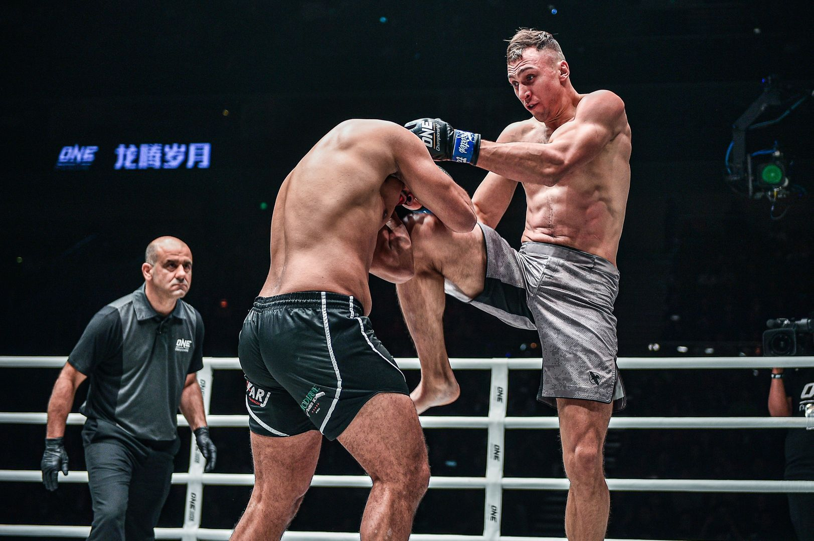 ONE Light Heavyweight Kickboxing World Champion Roman Kryklia connects with a knee to the head