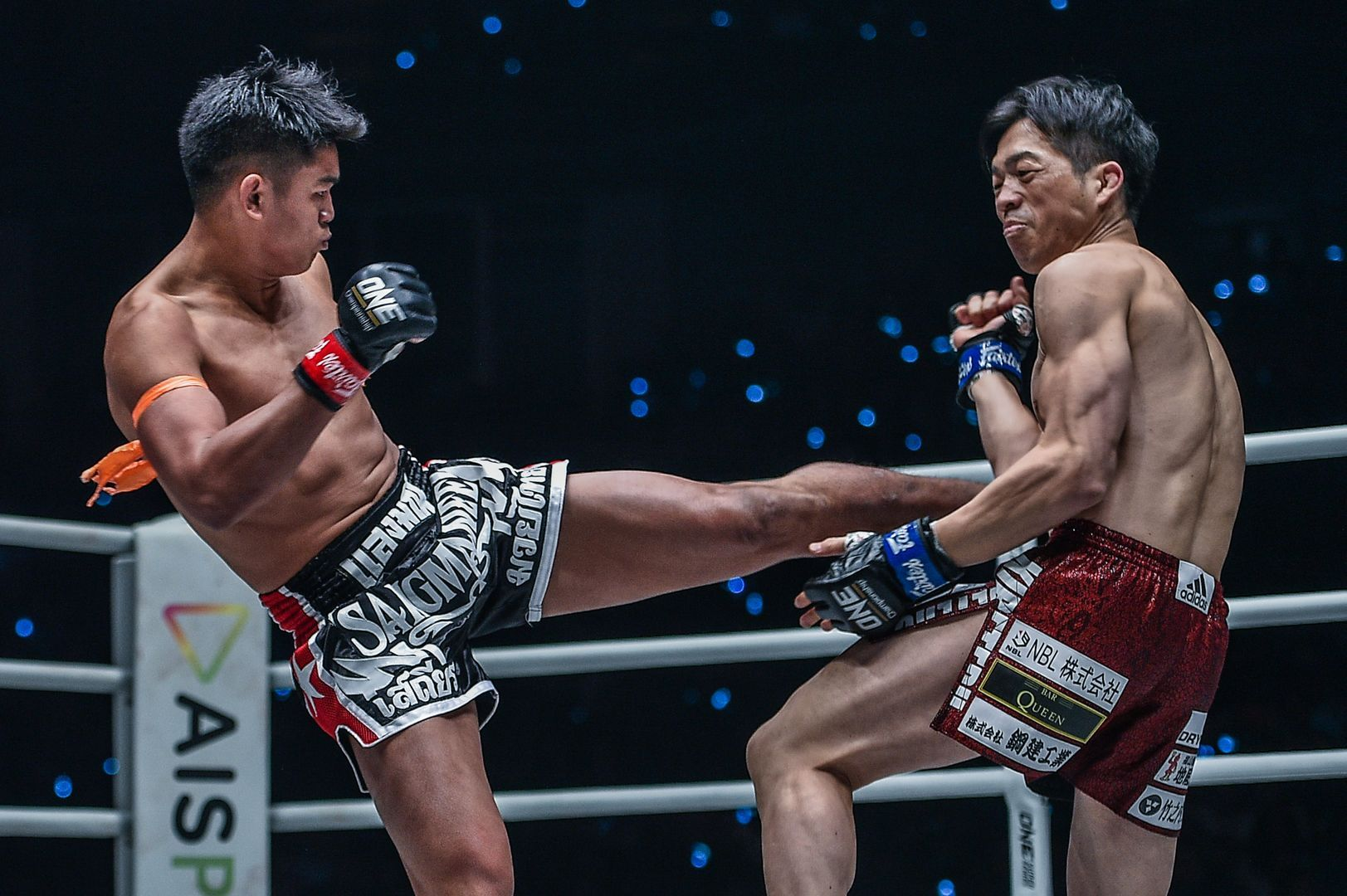 Sangmanee Sathian MuayThai lands his left kick on Kenta Yamada at ONE A NEW TOMORROW
