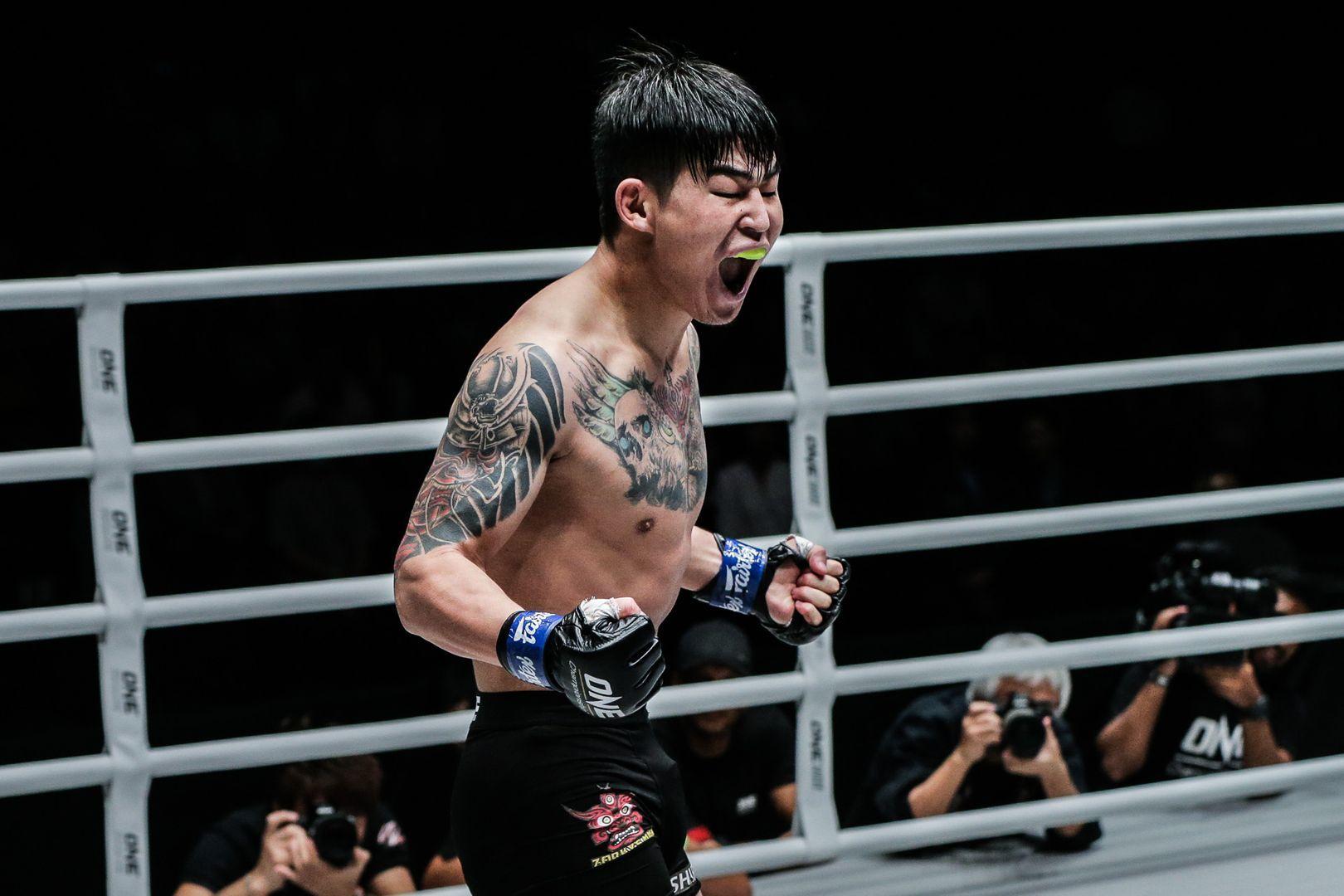 Shinechagtga Zoltsetseg celebrates his KO of Ma Jia Wen at ONE A NEW TOMORROW