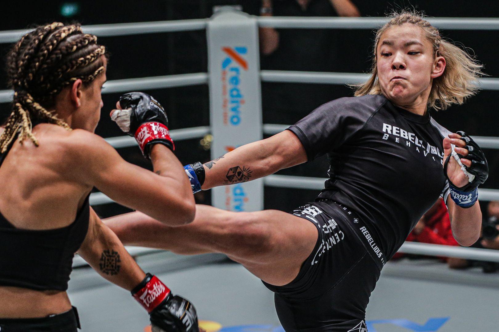 Japanese MMA fighter Itsuki Hirata throws a kick