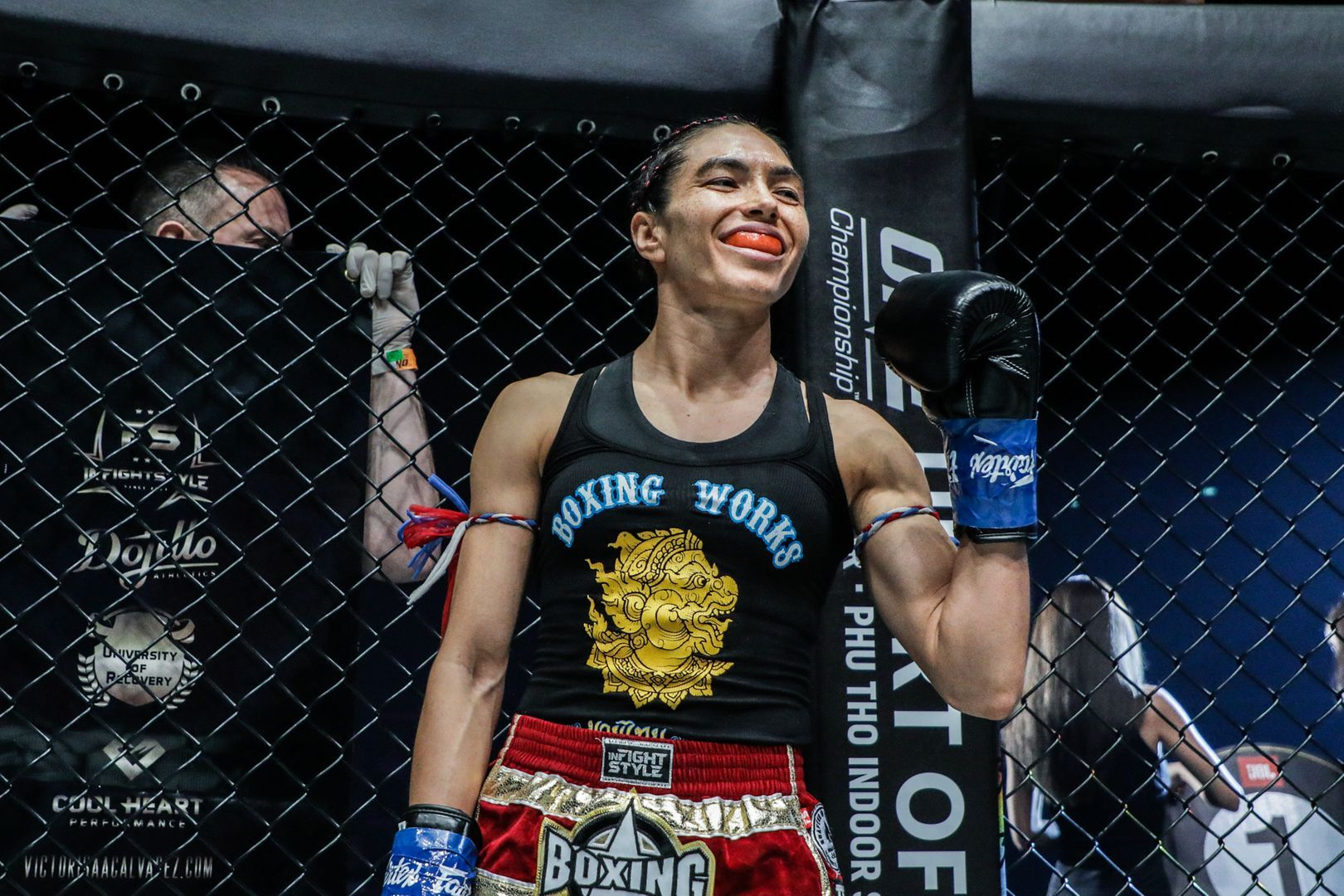Janet Todd wears a mouthguard and looks ready for her match against Stamp Fairtex