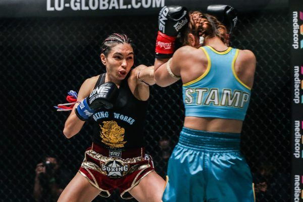 ONE Atomweight Kickboxing World Champion Janet Todd punches Stamp Fairtex