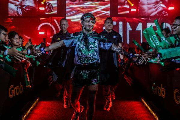 Josh Tonna walks to the ring for battle in Jakarta, Indonesia