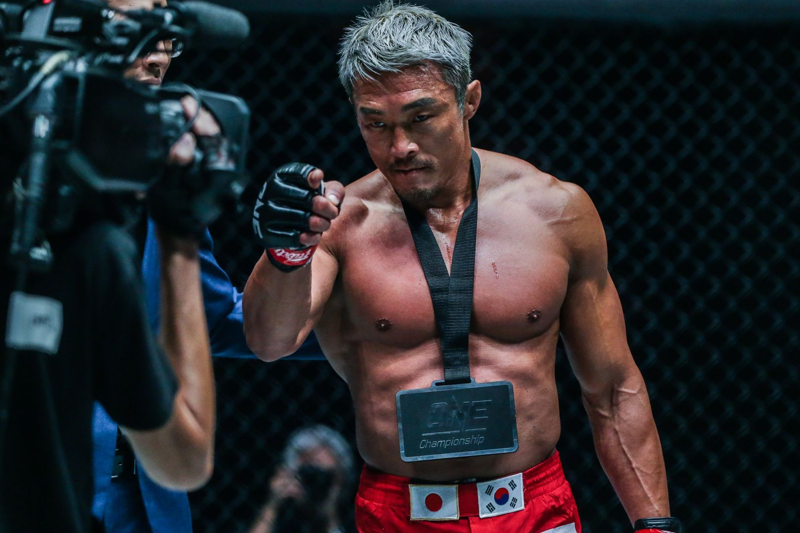 Yoshihiro Akiyama celebrates his win against Sherif Mohamed at ONE KING OF THE JUNGLE