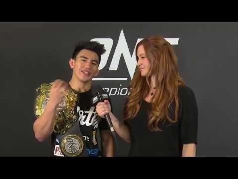 Miesha Tate interviews ONE Strawweight World Champion Joshua Pacio following his successful title defense at ONE: FIRE & FURY against Alex Silva.