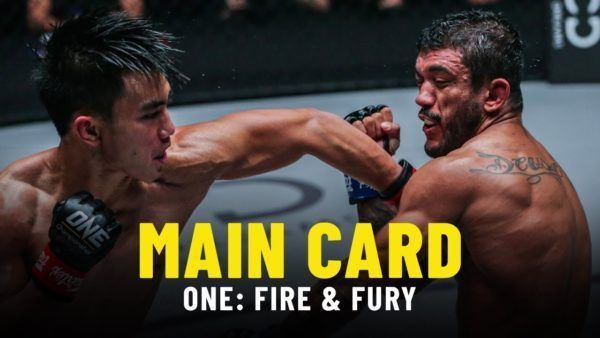 Joshua Pacio throws a left hook at Alex Silva in their ONE: FIRE & FURY main event for the ONE Strawweight World Title.