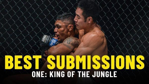 Jeff Chan works toward a rear-naked choke finish of Radeem Rahman at ONE: KING OF THE JUNGLE.