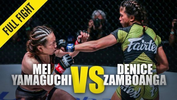 Denice Zamboanga sticks Mei Yamaguchi with a left hand in Singapore at ONE: KING OF THE JUNGLE.