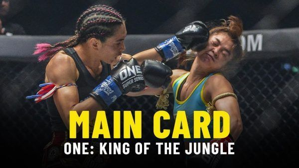 Janet Todd lands a left hand on Stamp Fairtex in their five-round classic at ONE: KING OF THE JUNGLE main event.