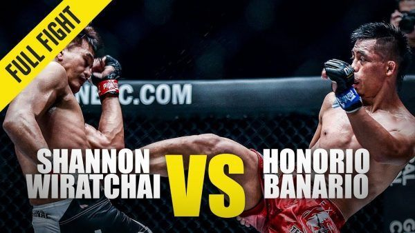 Shannon Wiratchai and Honorio Banario exchange strikes in their closely contested battle at ONE: KING OF THE JUNGLE.