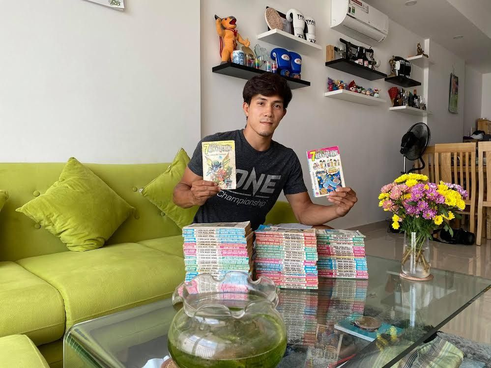 Nguyen Tran Duy Nhat shows off his Dragon Ball manga collection