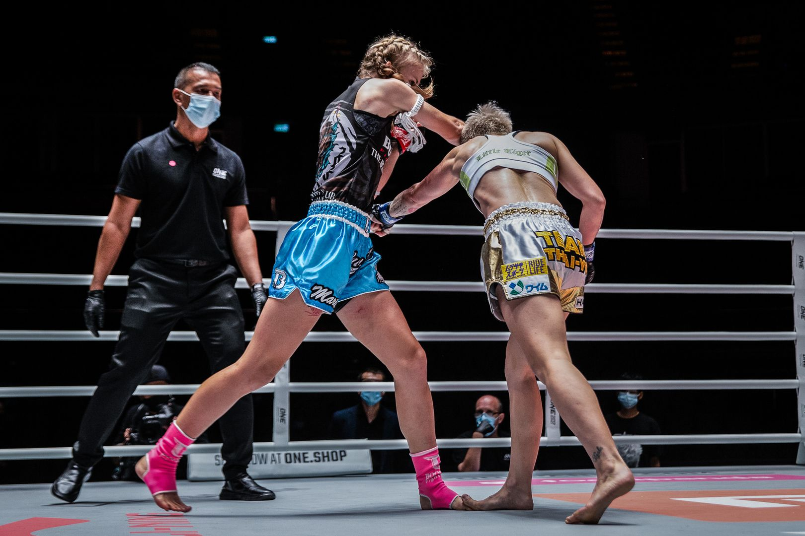 Estonia's Marie Ruumet throws an elbow at Little Tiger