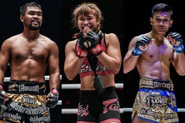 Muay Thai fighters Stamp Fairtex, Rodlek PK. Saenchai Muaythaigym and Kulabdam
