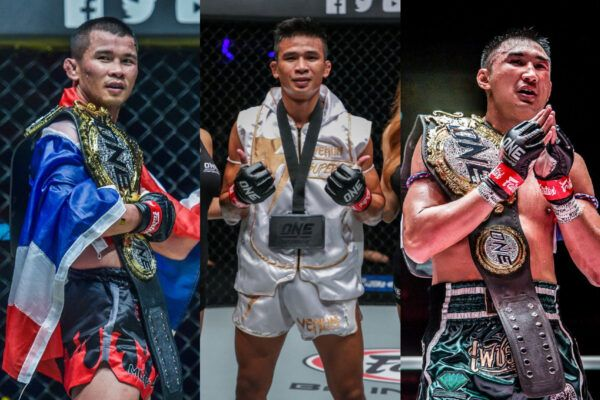 Muay Thai fighters Nong-O Gaiyanghadao, Superlek Kiatmoo9, and Petchmorakot Petchyindee Academy