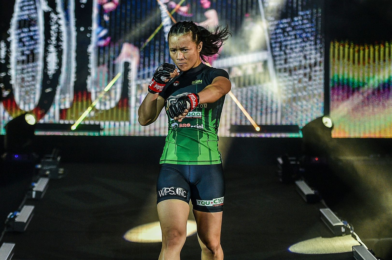 Chinese MMA star Meng Bo knocks out Indonesian MMA fighter Priscilla Hertati Lumban Gaol at ONE: INSIDE THE MATRIX II in Singapore