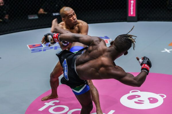 MMA fighters Bokang Masunyane and Rene Catalan fight at ONE: BIG BANG in Singapore