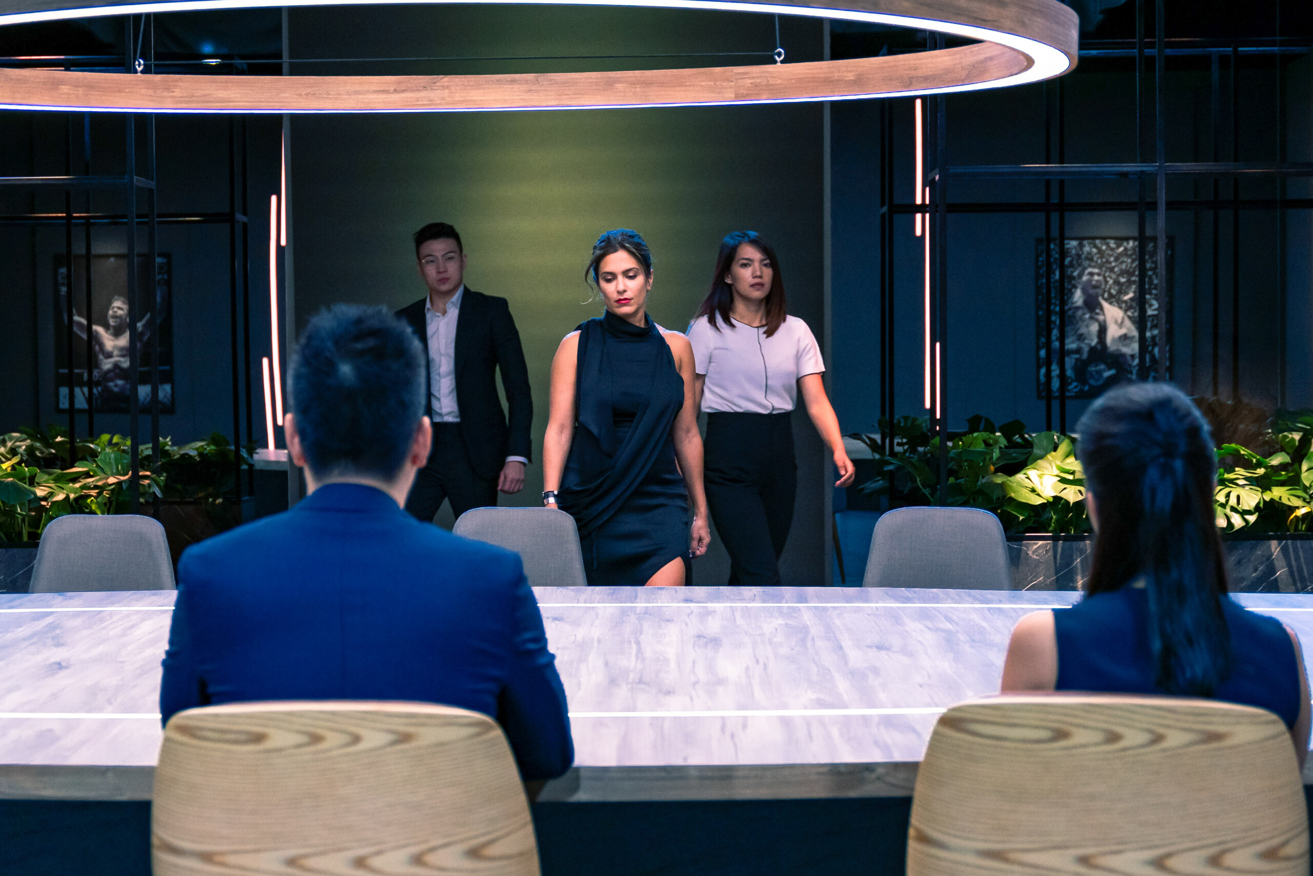 Nazee, Alvin, and Lara come back into the boardroom