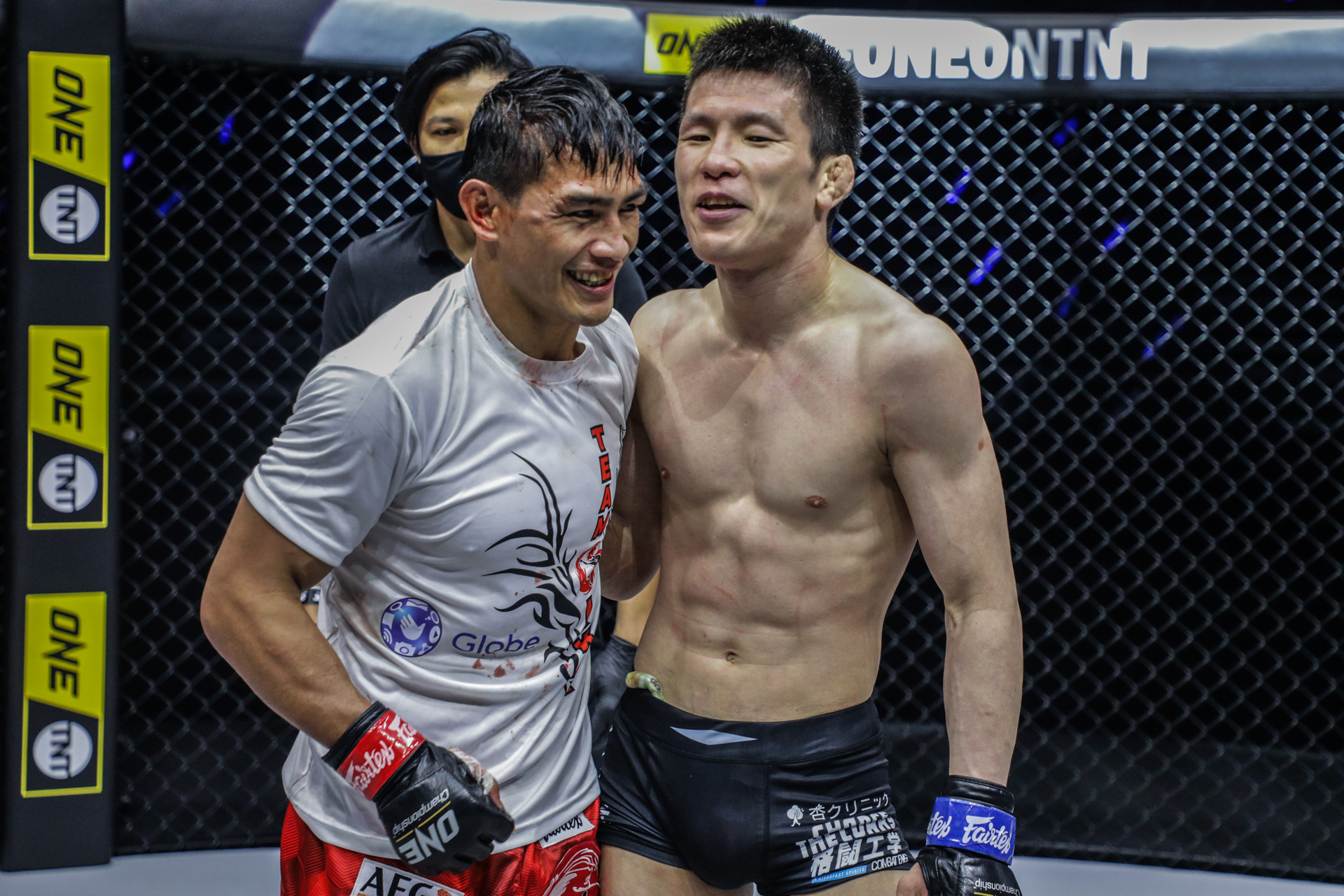 "Pictures from the fight between Eduard Folayang and Shinya Aoki from ""ONE on TNT IV"""