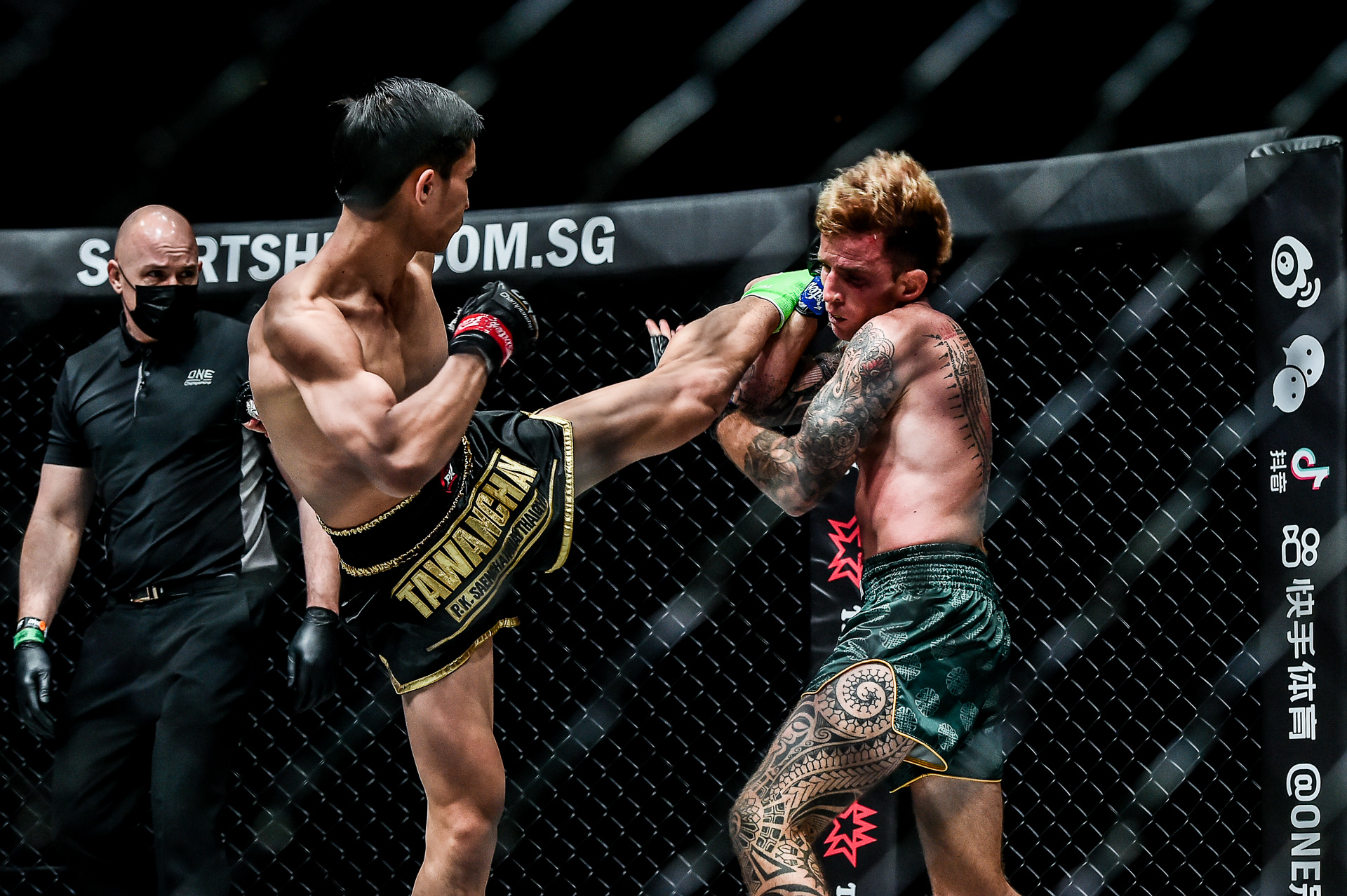 Scenes from the Muay Thai bout between Tawanchai PK.Saenchai Muaythaigym and Sean Clancy at ONE: DANGAL on 15 May