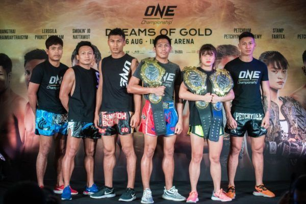 The Thai martial arts heroes pose at ONE: DREAMS OF GOLD Press Conference