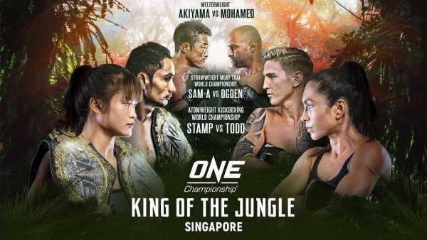 The poster for ONE: KING OF THE JUNGLE featuring Stamp Fairtex, Janet Todd, and Sam-A Gaiyanghadao.