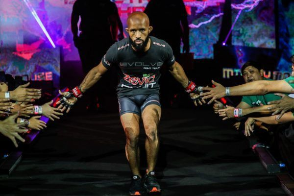 American martial arts superstar Demetrious Johnson walks down the ramp in the Mall Of Asia Arena