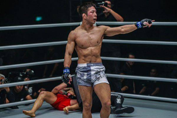 Koyomi Matsushima celebrates his win against Kim Jae Woong ONE WARRIOR'S CODE