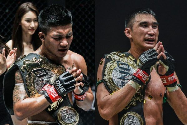 ONE World Champions Rodtang Jitmuangnon and Petchmorakot Petchyindee Academy post with the belts, will headline ONE: NO SURRENDER in Bangkok, Thailand