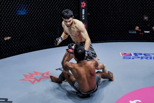 Pakistan's Ahmed Mujtaba and India's Rahul Raju engage in an MMA fight at ONE: UNBREAKABLE III on 5 February 2021