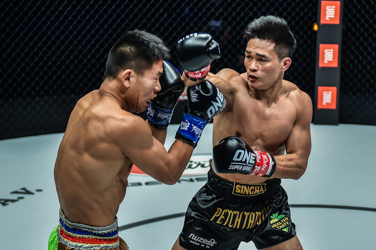 Pictures from the kickboxing clash between Petchtanong and Zhang Chenglong from ONE: REVOLUTION