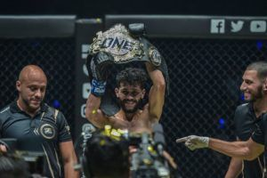 Ilias Ennahachi is crowned the ONE Flyweight Kickboxing World Champion in Bangkok, Thailand