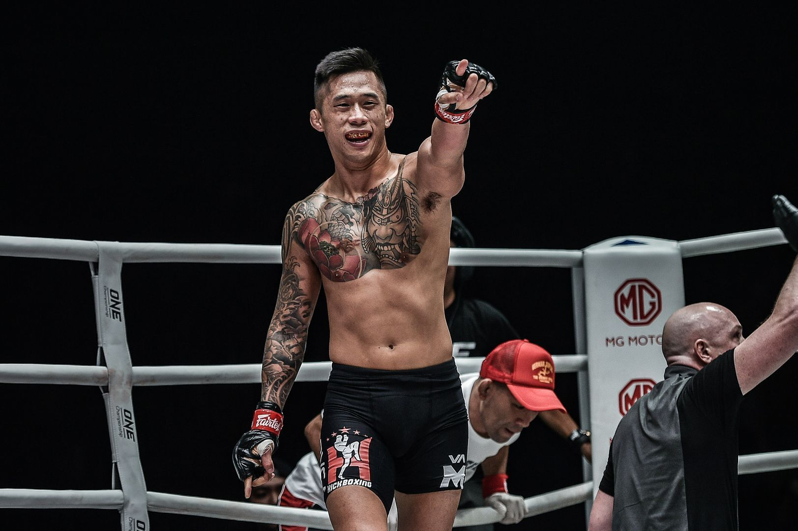 Martin Nguyen celebrates his TKO victory at ONE: DAWN OF HEROES.