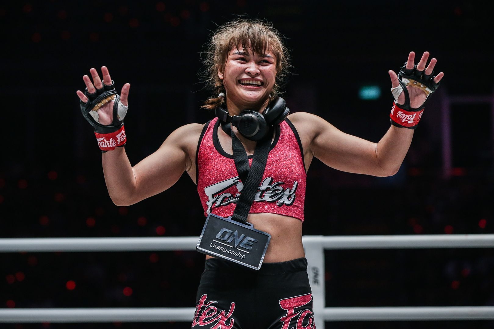 Stamp Fairtex celebrates after her TKO of Puja Tomar at ONE A NEW TOMORROW