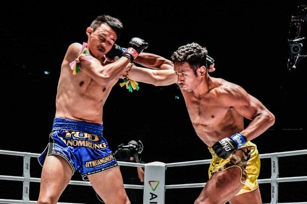 Felipe Lobo fights Yodpanomrung Jitmuangnon in Muay Thai action at ONE: A NEW BREED III