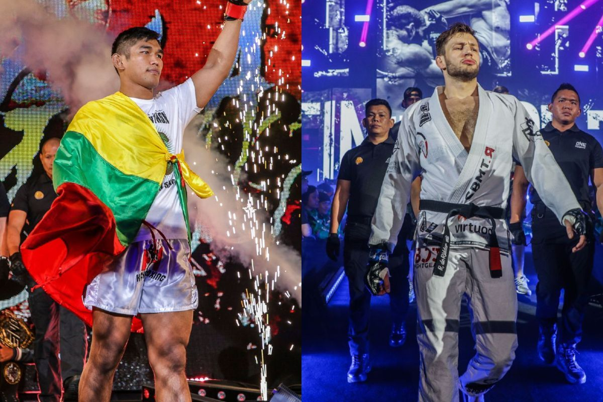 Middleweight MMA fighters Aung La N Sang and Reinier De Ridder march to the ring