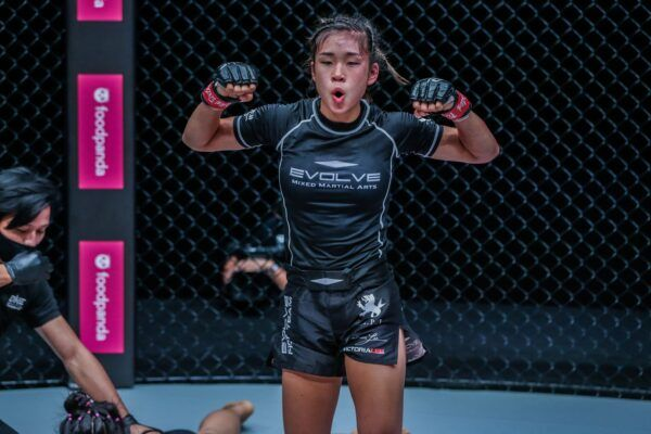 Singaporean-American MMA fighter Victoria Lee celebrates her debut victory