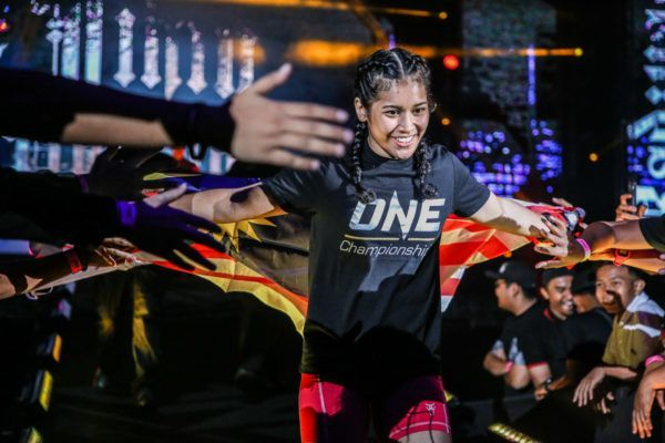 Jihin Radzuan during her entry to the cage